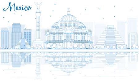 angel de la independencia: Esquema de México horizonte con edificios azules y reflexiones. Ilustración del vector. Los viajes de negocios y el concepto de turismo con el lugar de texto. Imagen de la presentación, la bandera, el cartel y la página web.