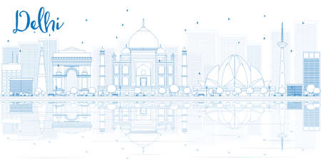 Outline Delhi skyline with blue buildings and reflections. Vector illustration. Business travel and tourism concept with place for text. Image for presentation, banner, placard and web site.