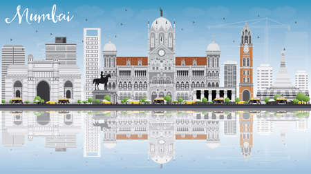 bombay: Mumbai Skyline with Gray Landmarks, Blue Sky and Reflections. Vector Illustration. Business Travel and Tourism Concept with Historic Buildings. Image for Presentation Banner Placard and Web Site. Illustration
