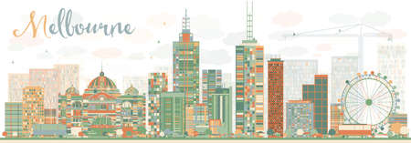 australia landscape: Abstract Melbourne Skyline with Color Buildings. Vector Illustration. Business Travel and Tourism Concept with Modern Buildings. Image for Presentation Banner Placard and Web Site. Illustration