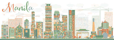 manila: Abstract Manila Skyline with Color Buildings. Vector Illustration. Business Travel and Tourism Concept with Modern Buildings. Image for Presentation Banner Placard and Web Site.