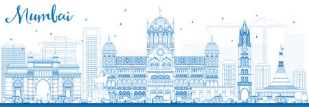 bombay: Outline Mumbai Skyline with Blue Landmarks. Vector Illustration. Business Travel and Tourism Concept with Historic Buildings. Image for Presentation Banner Placard and Web Site.