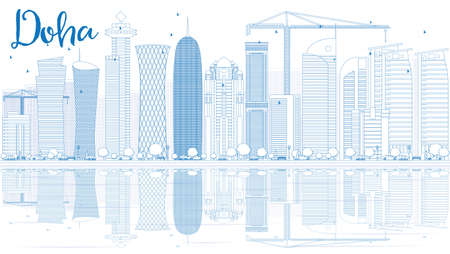 doha: Outline Doha skyline with blue skyscrapers. Vector illustration. Business and tourism concept with copy space. Image for presentation, banner, placard or web site
