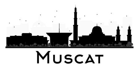 dome type: Muscat City skyline black and white silhouette. Vector illustration. Simple flat concept for tourism presentation, banner, placard or web site. Business travel concept. Cityscape with landmarks