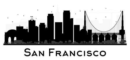 샌프란시스코 시티 스카이 라인의 검은 색과 흰색 실루엣. 벡터 일러스트 레이 션. 관광 프리젠 테이션, 배너, 플래 카드 또는 웹 사이트에 대한 간단한 일러스트