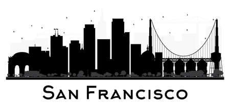 San Francisco City skyline black and white silhouette. Vector illustration. Simple flat concept for tourism presentation, banner, placard or web site. Business travel concept. Cityscape with landmarks