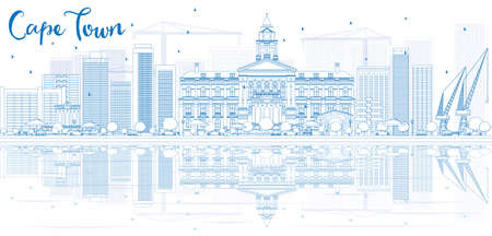 Outline Cape town skyline with blue buildings and reflection. Vector illustration. Business travel and tourism concept with place for text. Image for presentation, banner, placard and web site. 向量圖像