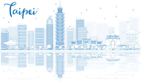 Outline Taipei skyline with blue buildings and reflections. Vector illustration. Business travel and tourism concept with place for text. Image for presentation, banner, placard and web site.  イラスト・ベクター素材