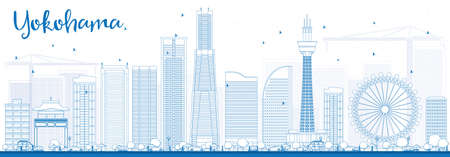 Outline Yokohama Skyline with Blue Buildings. Vector Illustration. Business and Tourism Concept with Modern Buildings. Image for Presentation, Banner, Placard or Web Site.