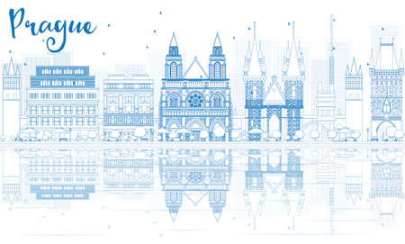 Outline Prague skyline with blue buildings and reflections. Vector illustration. Business travel and tourism concept with place for text. Image for presentation, banner, placard and web site.