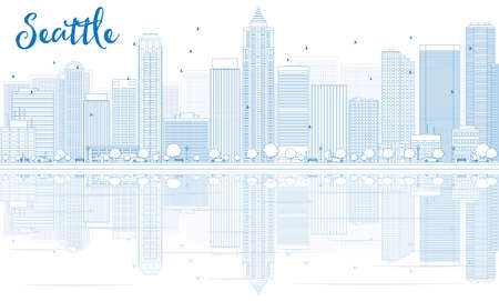 seattle skyline: Outline Seattle skyline with blue buildings and reflections. Vector illustration. Business travel and tourism concept with place for text. Image for presentation, banner, placard and web site.