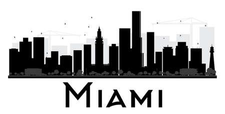 Miami City de noir de l'horizon et la silhouette blanche. Vector illustration. concept de plat simple pour le tourisme présentation, bannière, affiche ou d'un site web. concept de Voyage d'affaires. Paysage urbain avec des repères Banque d'images - 53592553