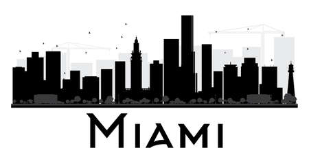 Miami City skyline black and white silhouette. Vector illustration. Simple flat concept for tourism presentation, banner, placard or web site. Business travel concept. Cityscape with landmarks