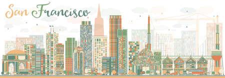 色の建物と抽象的な San サンフランシスコ スカイライン。ベクトルの図。ビジネス旅行と観光概念と近代建築。プレゼンテーション バナー プラカー