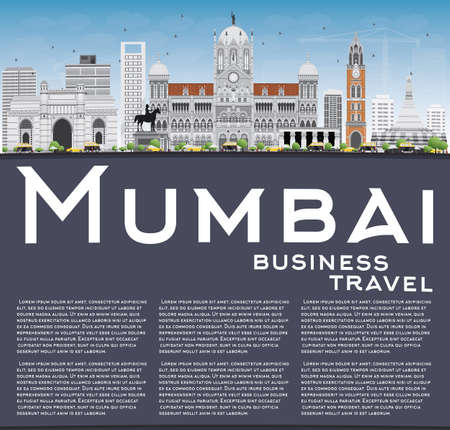 bombay: Mumbai Skyline with Gray Landmarks and Blue Sky. Vector Illustration. Business Travel and Tourism Concept with Copy Space. Image for Presentation Banner Placard and Web Site. Illustration
