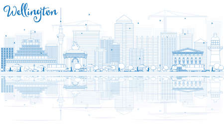 new zealand landscape: Outline Wellington skyline with blue buildings and reflections. Vector illustration. Business travel and tourism concept with place for text. Image for presentation, banner, placard and web site.
