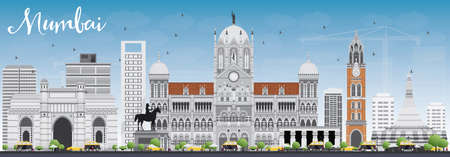 mumbai: Mumbai Skyline with Gray Landmarks and Blue Sky. Vector Illustration. Business Travel and Tourism Concept with Historic Buildings. Image for Presentation Banner Placard and Web Site. Illustration