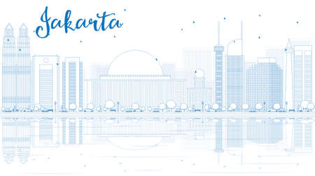jakarta: Outline Jakarta skyline with blue buildings and reflections. Vector illustration. Business travel and tourism concept with place for text. Image for presentation, banner, placard and web site.