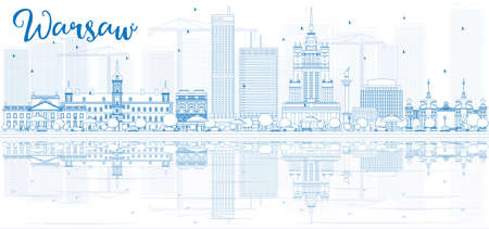 warsaw: Outline Warsaw skyline with blue buildings and reflections. Vector illustration. Business travel and tourism concept with place for text. Image for presentation, banner, placard and web site. Illustration