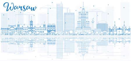 Outline skyline van Warschau met blauwe gebouwen en reflecties. Vector illustratie. Zakelijke reizen en toerisme concept met plaats voor tekst. Afbeelding voor de presentatie, banner, aanplakbiljet en website.