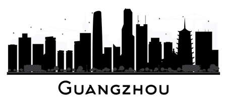 travel destination: Guangzhou City skyline black and white silhouette. Vector illustration. Simple flat concept for tourism presentation, banner, placard or web site. Business travel concept. Cityscape with landmarks