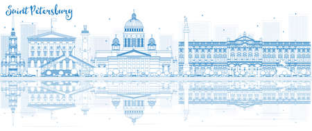 Outline Saint Petersburg skyline with blue buildings and reflections. Vector illustration. Business travel and tourism concept with place for text. Image for presentation, banner, placard and web site.