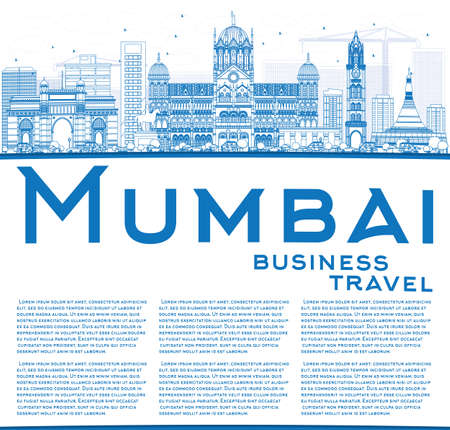 Outline Mumbai Skyline with Blue Landmarks. Vector Illustration. Business Travel and Tourism Concept with Copy Space. Image for Presentation Banner Placard and Web Site. Vetores