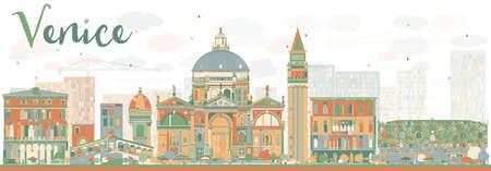 Silueta del horizonte abstracto de Venecia, con edificios de colores. Ilustración del vector. Los viajes de negocios concepto de turismo y de edificios históricos. Presentación de imágenes para Banner y Cartel.
