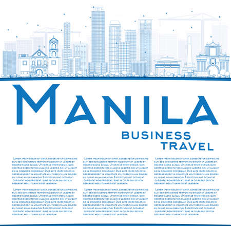 manila: Outline Manila Skyline with Blue Buildings. Vector Illustration. Business Travel and Tourism Concept with Copy Space. Image for Presentation Banner Placard and Web Site.