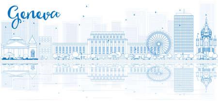 Esquema horizonte de Ginebra, con edificios de color azul y reflexiones. Ilustración del vector. Los viajes de negocios y el concepto de turismo con el lugar de texto. Imagen de la presentación, la bandera, el cartel y la página web.