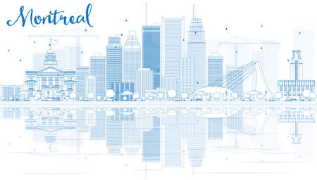 montreal: Outline Montreal skyline with Blue buildings and reflection. Vector illustration. Business travel and tourism concept with place for text. Image for presentation, banner, placard and web site.