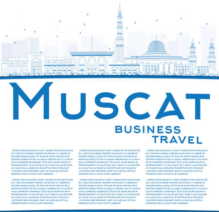 dome type: Outline Muscat Skyline with Blue Buildings. Vector illustration. Business Travel and Tourism Concept with Copy Space. Image for Presentation Banner Placard and Web Site. Illustration