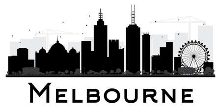 melbourne: Melbourne City skyline black and white silhouette. Vector illustration. Simple flat concept for tourism presentation, banner, placard or web site. Business travel concept. Cityscape with landmarks Illustration