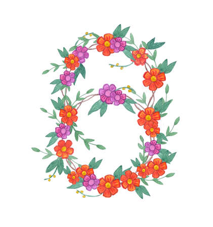 holly day: Watercolor flower wreath. Isolated illustration on white background. Organic and natural concept.