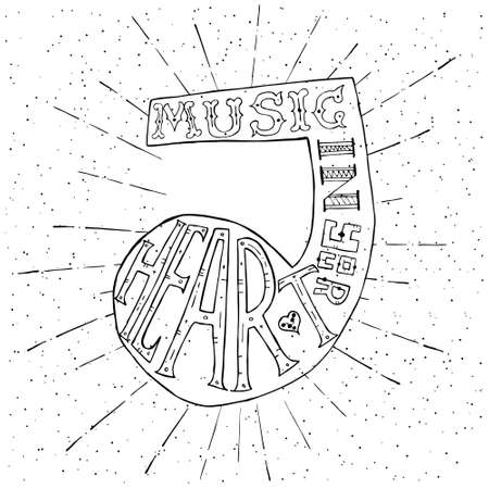 tshirt design: Music in your heart. lettering design with music note. Typography concept for t-shirt design or web site. illustration. Illustration