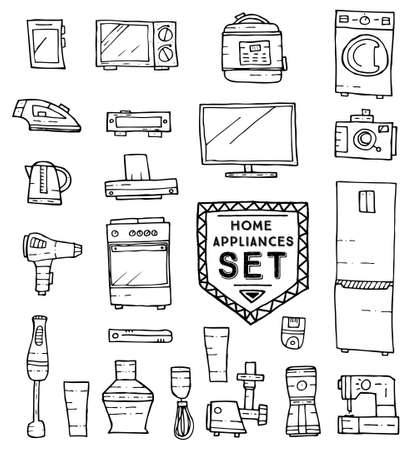 household goods: Home appliances doodle set. illustration. Household equipment and facilities isolated on white background.