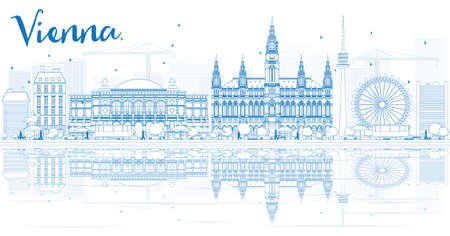 landscape architecture: Outline Vienna Skyline with Blue Buildings and Reflections. Illustration. Business Travel and Tourism Concept with Historic Buildings. Image for Presentation, Placard and Web Site.
