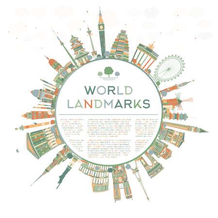 Resumen concepto de viaje alrededor del mundo con puntos de referencia internacionales famosos. ilustración con el espacio de la copia. el concepto de viaje de negocios o de turismo con el lugar de texto. Ilustración para la bandera, cartel