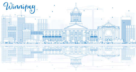 winnipeg: Outline Winnipeg Skyline with Blue Buildings and Reflections. Illustration. Business Travel and Tourism Concept with Modern Buildings. Image for Presentation Placard and Web Site.
