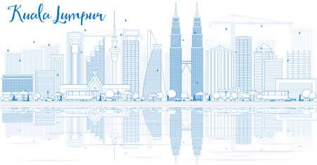 Contour Skyline de Kuala Lumpur avec des bâtiments bleus et des reflets. illustration. Concept de voyage d'affaires et de tourisme avec place pour le texte. Image pour la présentation, l'affiche et le site Web.