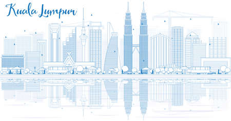 Outline Kuala Lumpur Skyline with Blue Buildings and Reflections. illustration. Business travel and tourism concept with place for text. Image for presentation,  placard and web site. Vettoriali