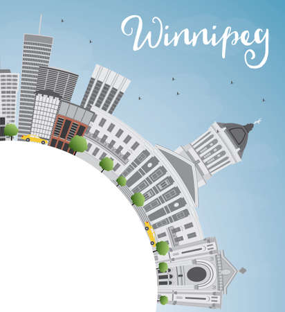 Winnipeg Skyline with Gray Buildings and Copy Space. Illustration. Business Travel and Tourism Concept with Modern Buildings. Image for Presentation Placard and Web Site.