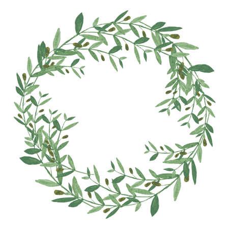 수채화 올리브 화 환입니다. 흰색 배경에 고립 된 그림입니다. 유기 및 자연 개념입니다. 삽화