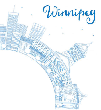 winnipeg: Outline Winnipeg Skyline with Blue Buildings and Copy Space. Illustration. Business Travel and Tourism Concept with Modern Buildings. Image for Presentation Placard and Web Site.