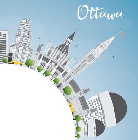 ottawa: Ottawa Skyline with Gray Buildings and Copy Space. Illustration. Business travel and tourism concept with modern buildings. Image for presentation, placard and web site.