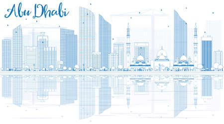sky scraper: Outline Abu Dhabi City Skyline with Blue Buildings and Reflections. Illustration. Business Travel and Tourism Concept?with Modern Buildings. Image for Presentation,  Placard and Web.