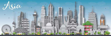 shanghai skyline: Asia skyline silhouette with different landmarks. illustration. Business travel and tourism concept with place for text. Image for presentation,  placard and web site.