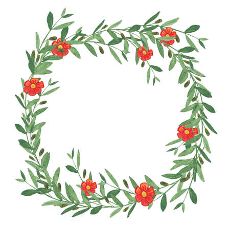 olive wreath: Watercolor olive wreath with red flower. Isolated illustration on white background. Organic and natural concept. Stock Photo