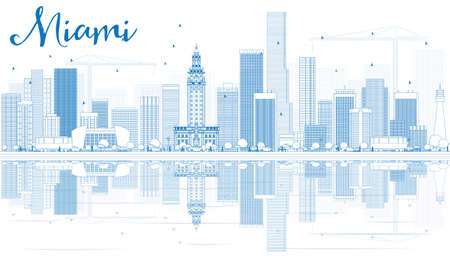 Outline Miami Skyline with Blue Buildings and Reflections. Vector Illustration. Business Travel and Tourism Concept with Modern Buildings. Image for Presentation Banner Placard and Web Site.