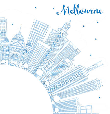 melbourne: Outline Melbourne Skyline with Blue Buildings. Vector Illustration. Business Travel and Tourism Concept with Copy Space. Image for Presentation Banner Placard and Web Site. Illustration